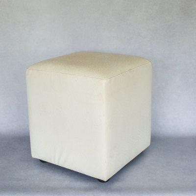 White Ostrich Faux Leather Ottoman)