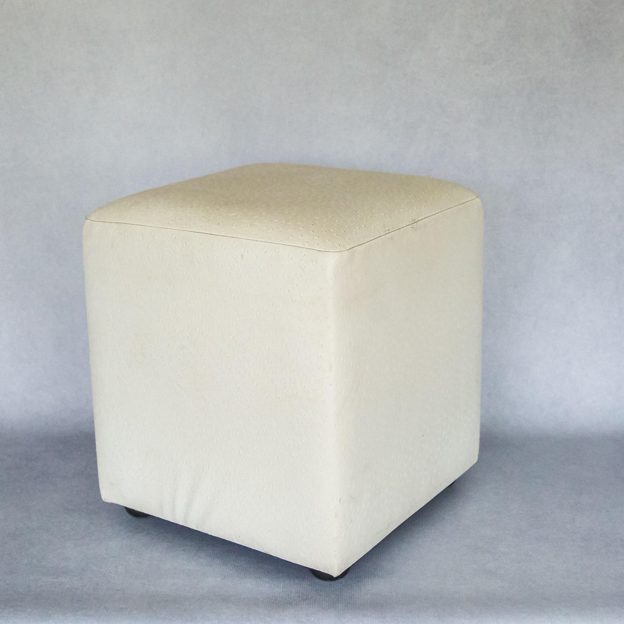 faux leather ottoman. White Ostrich Faux Leather Ottoman