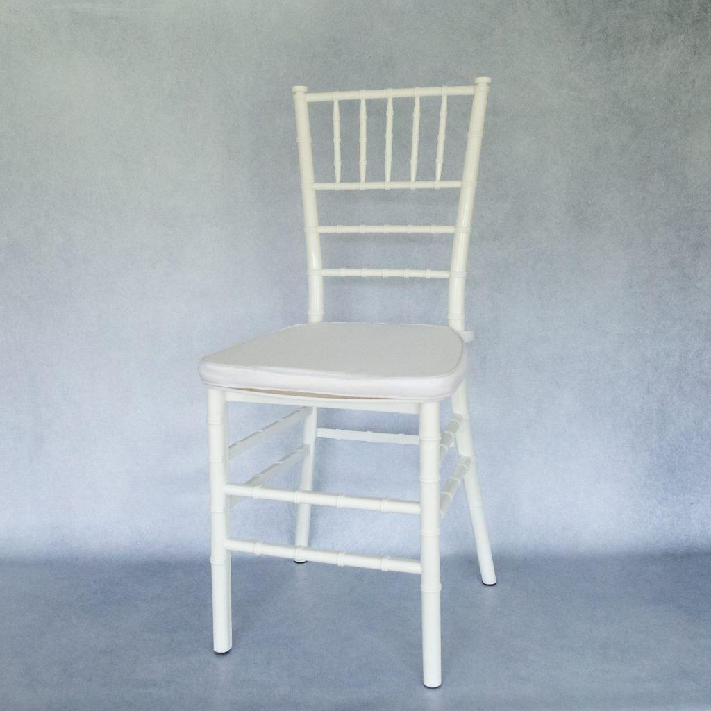 White Resin Tiffany Chairs Hire Flamboijant Decor Hire