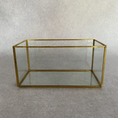 Rectangular Gold Glass Lantern