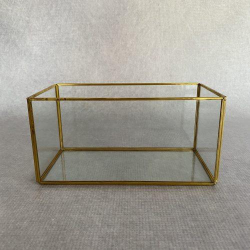 Rectangular Gold Glass Lantern